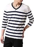 (アーケード) ARCADE メンズ 先染めボーダー Tシャツ 春 夏 Vネック 半袖 7分袖 カットソー S (七分袖)1-白×紺-パネルボーダー