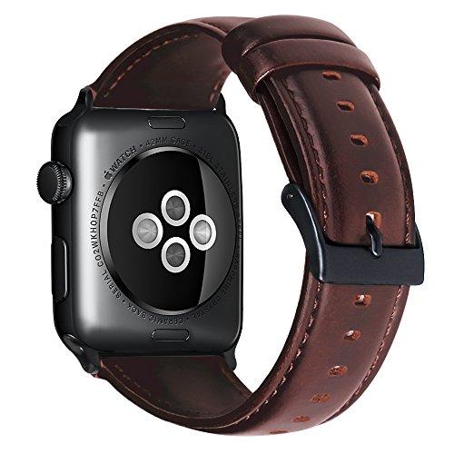 Mikeric 互換バンド Apple Watch対応 アップルウォッチバンド アップルウォッチ4バンド apple watch series4/3/2/1適用 本革 レザー製 ビジネス用 腕時計ベルト 最新型 (42mm/44mm,ブラウン)