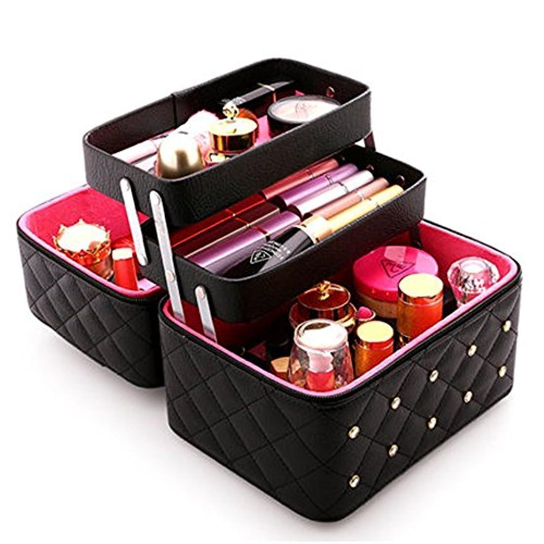 品揃えいろいろ大陸FYX メイクボックス コスメボックス 大容量 化粧品収納ボックス 収納ケース 小物入れ 大容量 取っ手付 (ブラック)