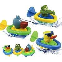 YOSWAN Amphibious Pull and Go Boat Car Playset Bathing Soft Rubber Duck Crocodile Pelican Animal Boat Swimming Bathtime Fun Bath Tub Toys for Boys Girls Toddlers (Duck+Crocodile+Pelican) by YOSWAN