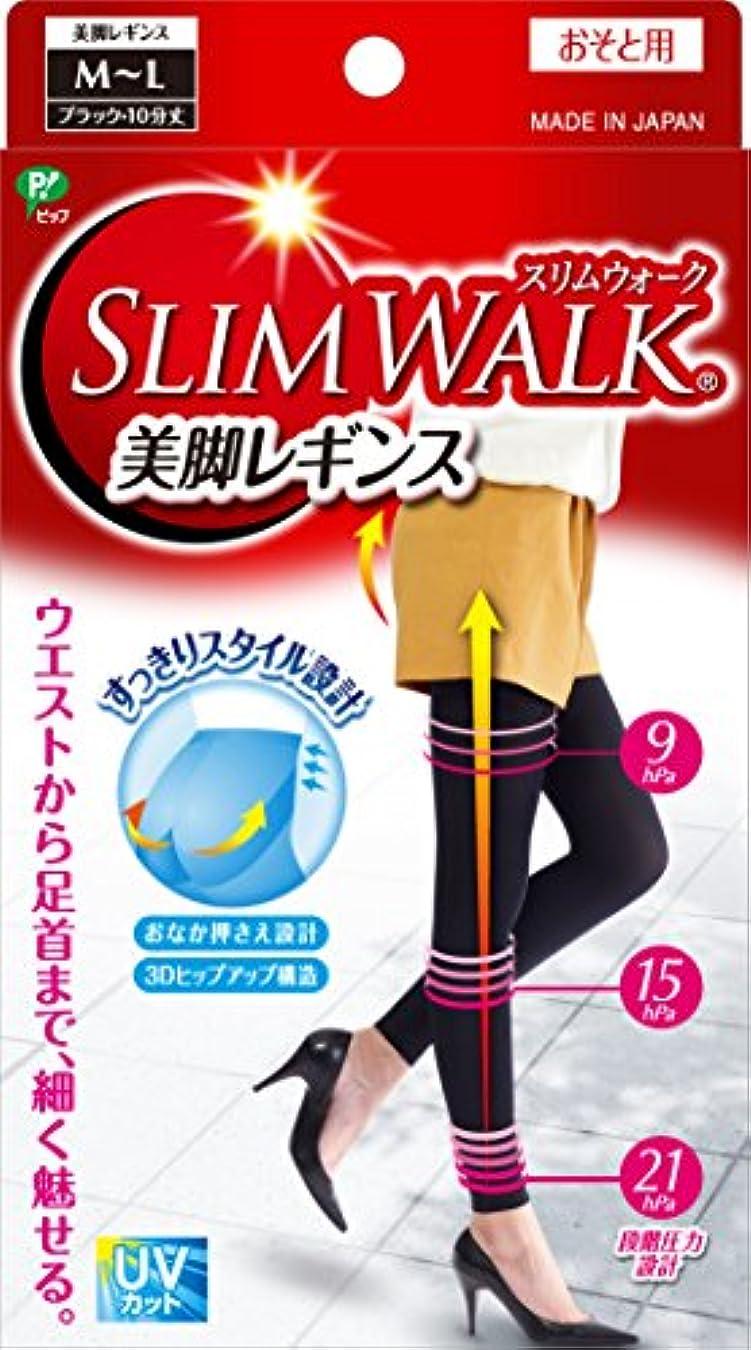 教える水陸両用解くスリムウォーク 美脚レギンス M-Lサイズ ブラック(SLIM WALK,leggings,ML) 着圧 レギンス