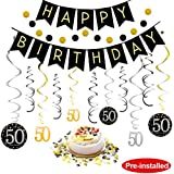 50th Birthday Decorations Kit for Men & Women 50 Years Old Party, NO ASSEMBLY REQUIRED - Black & Gold Happy Birthday Banner, Hanging Swirls, Circle Dots Hanging Decoration, Number 50 Table Confetti