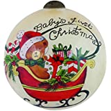 """Ne'Qwa Art, Christmas Gifts, """"Baby's First Christmas"""" Artist Susan Winget, Petite Round-Shaped Glass Ornament, 7151177"""