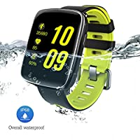 スマートウォッチ、fwm 1.54インチHD画面スマートブレスレット 心拍計 活動量計 多機能腕時計 Bluetooth通話機能搭載(SIMカードなし) SMS通知 歩数計 消費カロリー ストップウォッチ 睡眠検測 座りっぱなし警告 遠隔音楽 IP68防水 水泳可能 日本語説明書 iphone&Android対応 (グリーン) (グリーン)