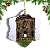 Weekino英国イングランドソロモンの寺院バクストンクリスマスオーナメントクリスマスツリーペンダントデコレーション旅行お土産コレクション陶器両面デザイン3インチ