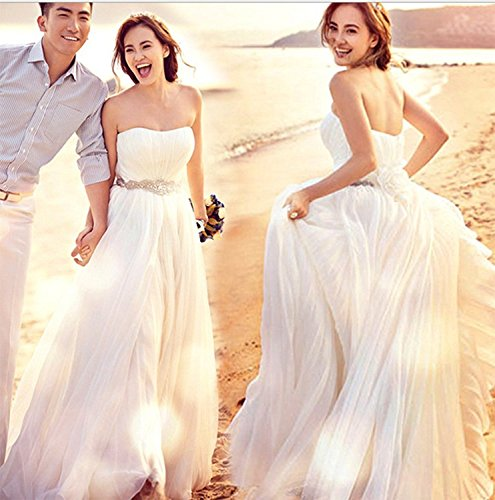 (ノーブランド品) ベアトップ ウェディングドレス ホワイト XS