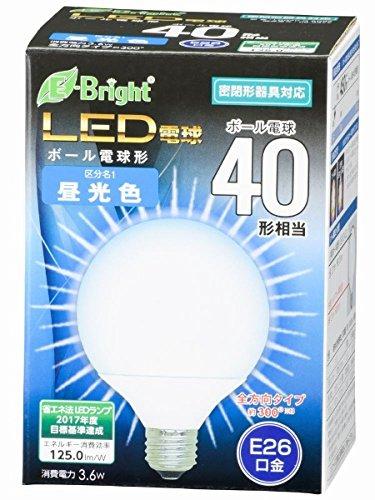 ボール電球形 E26 40形相当 昼光色 3.6W 450lm 全方向 127mm OHM 密閉器具対応 LDG4D-G AG22 06-3377