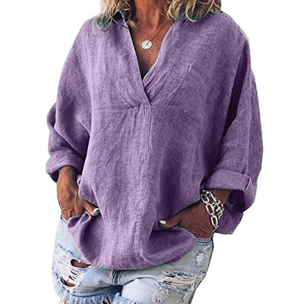 トレース紫の正しいMIFAN女性ファッション春夏チュニックトップス深いVネックTシャツ長袖プルオーバールーズリネンブラウス