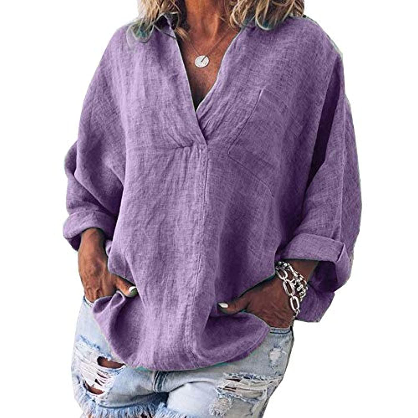 慎重にうるさいホットMIFAN女性ファッション春夏チュニックトップス深いVネックTシャツ長袖プルオーバールーズリネンブラウス