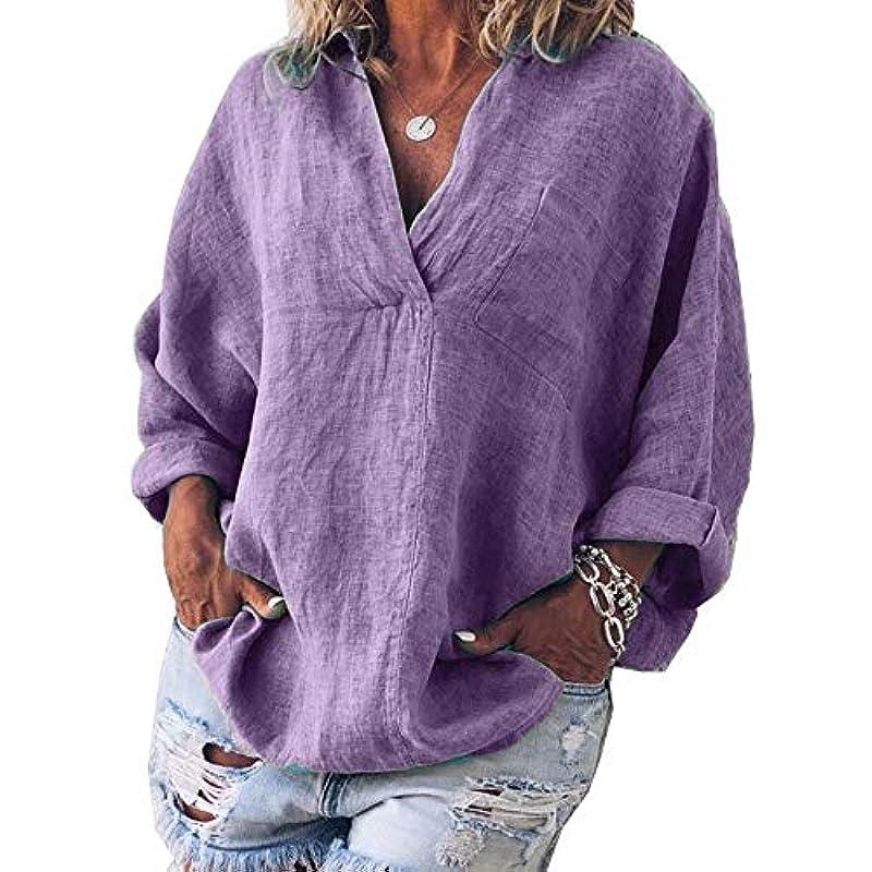 旅伴う葉巻MIFAN女性ファッション春夏チュニックトップス深いVネックTシャツ長袖プルオーバールーズリネンブラウス