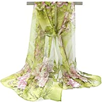 Bullidea Silk Scarf Women's Floral Printing Decoration Chiffon Scarf Beach Ultra-thin Shawl Wrap Sunscreen, 1 Pc