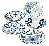 西海陶器 染付絵変り 楕円皿揃(中) 31986