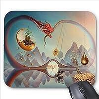 精密な継ぎ目、丈夫なゲームのマウスパッド、マウスパッドの細長い竜城デザイン、滑り止めマウスパッド