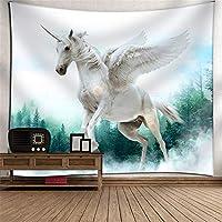 ペガサスの馬の頭掛け布団のタペストリーの壁の装飾ビーチのタオルのテレビの壁の壁のアート3Dデジタル印刷の壁のカバーホームベッドルームのリビングルームの子供部屋の壁画毛布 (Color : 001)