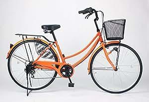 21Technology 26インチ自転車ママチャリ MCA266 オートライト シマノ製6段ギア付き (オレンジ)