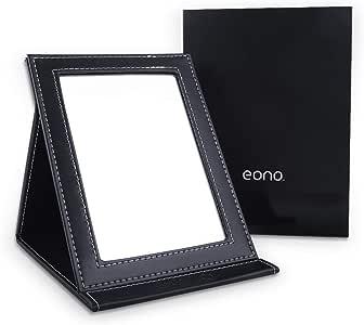 [Amazonブランド] Eono(イオーノ)化粧鏡 卓上スタンドミラー 折りたたみミラー PUレザー (ブラック)