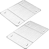2-Pack Cooling Racks for Cooking and Baking, Stainless Steel, 10.23''x7.87'' Fits Small Quarter Sheet Pan, Oven Safe Wire Rac