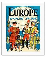 ヨーロッパ - パンアメリカン航空 - ガードのyeomen, 教皇スイスガード - ビンテージな航空会社のポスター c.1950s - キャンバスアート - 51cm x 66cm キャンバスアート(ロール)