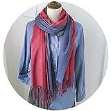 新年の特恵!秋と冬の暖かいモノクロの両面ファッションの女性のスカーフ カシミアタッセルショール