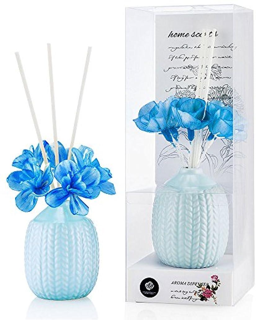 めまいが他の日層パステルカラー ルームフレグランス /芳香剤 アロマ スティック リードディフューザー (花:青、香り:海洋)
