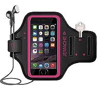 iPhone7 plus/8plusランニングアームバンド スポーツ スマホ アームバンド JEMACHE【指紋識別 OK!】 防汗 軽量 調節可能 小物収納 3ケ月保証 | ばら赤い