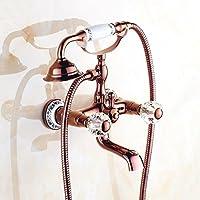 LJ ローズゴールドすべてのブロンズレトロバスタブの蛇口は回転ヨーロッパスタイルのシャワーセットすることができます (色 : B)