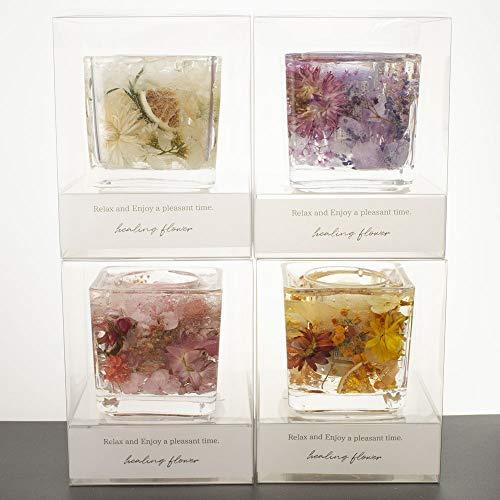 スクエアガラスのボタニカル ゼリー キャンドル【4色から選べます】 クリアBOX入り (ラベンダー・ガーデン)