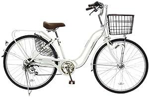 CHACLE(チャクル) 空気入れ不要! ノーパンク自転車 軽快車 26インチ [外装6段変速、S型ループフレーム、LEDオートライト、ローラーブレーキ] ホワイト FN-CC266WS-HD
