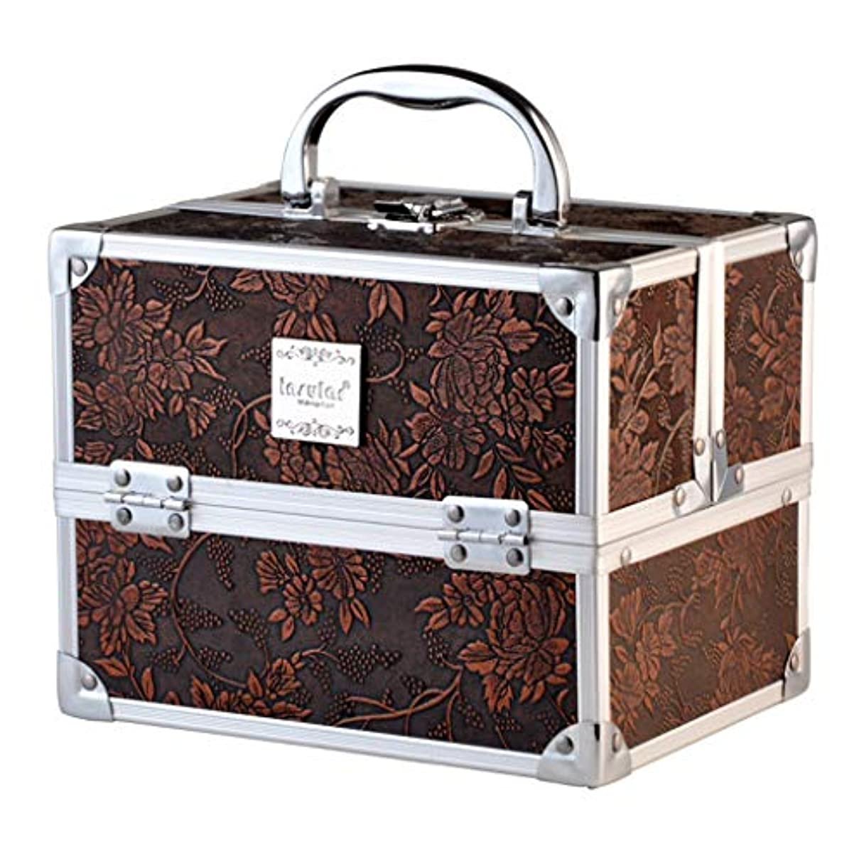 [テンカ]メイクボックス コスメボックス 化粧箱 スライドトレイ 収納ボックス 収納ケース 観音開き 化粧品?化粧道具入れ 自宅?出張?旅行?アウトドア撮影 プロ用 大容量 取っ手付 多機能 工具箱 ツールボックス