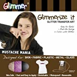 Mustache Mania Glimmerize It Glitter Tattoo転送アートキットforスキンファブリックプラスチックメタルガラス