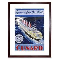 Travel Night Boat Sail Ship Ocean Liner Sea New World Framed Wall Art Print 旅行夜ボート帆船海洋ライナー世界壁