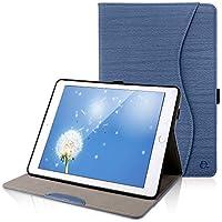 iPad 9.7 ケースDINGRICH 高品質PUレザー ペンホルダー ポケット付き pencil収納可能 カバー 手帳型 スタンド オートスリープ機能付きiPad 9.7 2018第6世代 / iPad 2017 第5世代 / iPad air/iPad pro 9.7 / iPad air2ケース (ダークブルー汎用型)