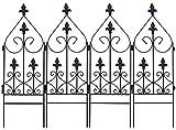 国華園 スリム花壇フェンス 4枚1組 鉄製フェンス アイアン ガーデンフェンス ガーデニング