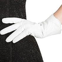 [NAPPAGLO]レディース 女性用 ショート レザー 手袋 ファッション 冬 インナー 厚い 保温 暖かい 防寒 スマホ対応 手作り 運転 ドライブ グローブ (S, ホワイト)