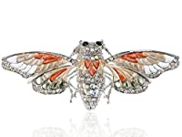 アリランシルバートーンクリアクリスタル色付きラインストーンメタリックMoth昆虫ブローチピン