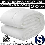 Dreamaker Bedding 500 GSM Australian Made Wool Quilt with Cotton Japara Cover | Hypo Allergenic and Washable | 6 Sizes Available(Single)