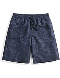 マルチサイズ 黒 速乾メンズビーチパンツ 軽量クールスポーツパンツ シーサイドリゾート (サイズ : S)