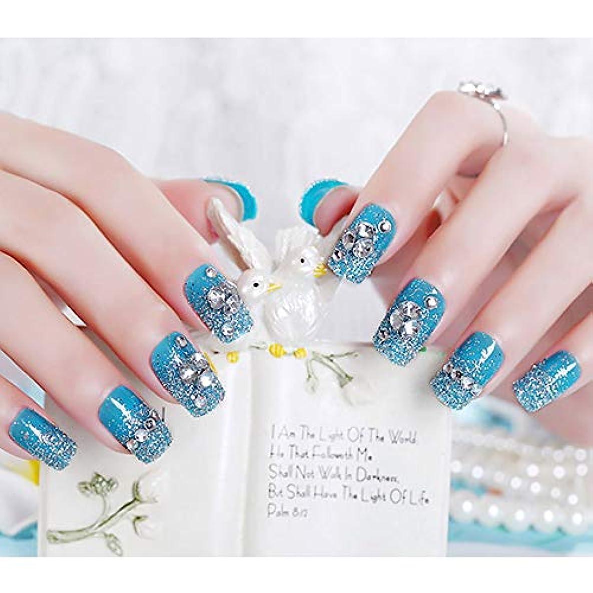 牽引大聖堂従順XUTXZKA 女性フルカバーネイルアートのヒントシャイニーラインストーングリッターフェイクネイルファッションブルーカラー偽爪24ピース