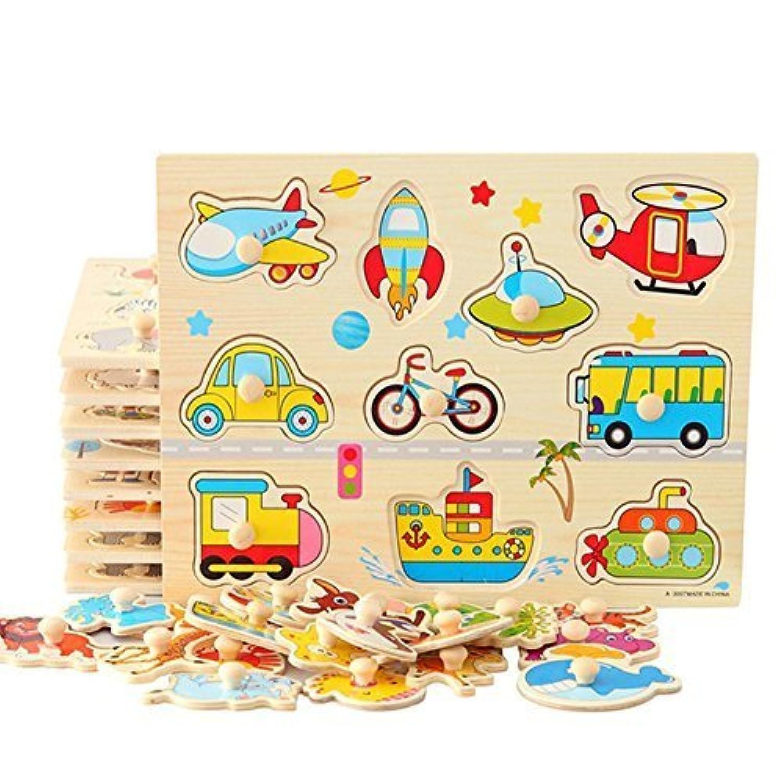 yoomun 4pcs 30 cm Kid Hand Grasp木製Pegパズルトイジグソーバンドル形状Toys and Games for Age 2 – 7年オールズモビル子子供ボーイズgirls-番号、村、車と動物