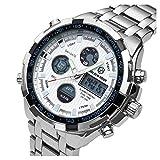[バロンズ] 腕時計 メンズ クロノグラフ 日本製クォーツ 防水 夜光 アラーム アナデジ表示 (02-ホワイト)