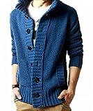 (ボナスティモーロ) Buona stimolo メンズ ニット カーディガン 厚手 長袖 お洒落 デザイン (05:ブルー XL)