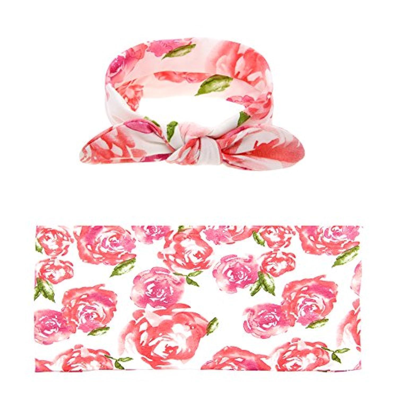 drcosy新生児赤ちゃん乳児Printed Flower受信ブランケットおくるみブランケットwithヘッドバンド値設定 34.3