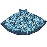 DFギャラリー パウスカート フラ ダンス衣装 日本製 シングル JP4092 約75cm丈 ターコイズxネイビー