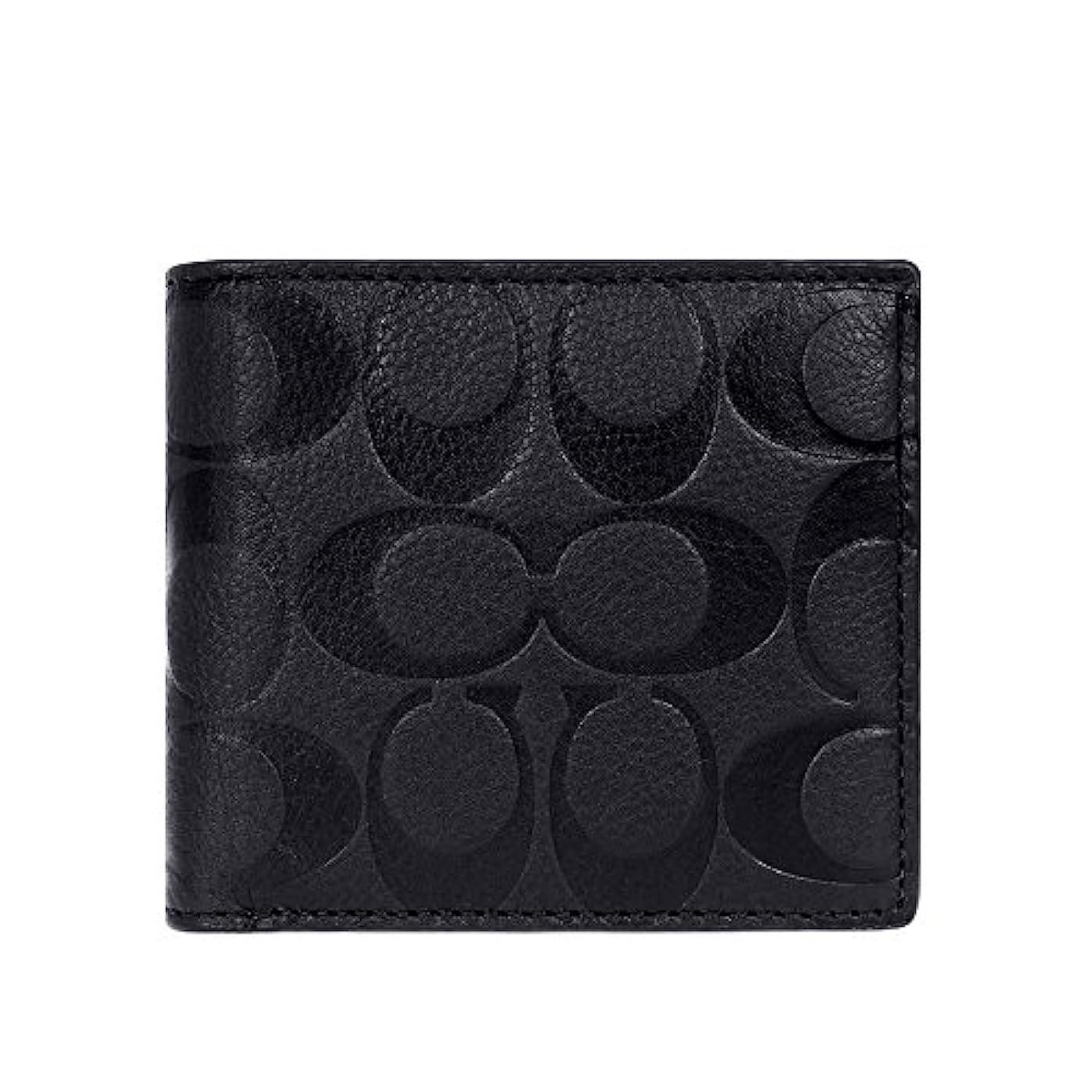 おしゃれな原油荒涼とした[コーチ] COACH 財布 (二つ折り財布) F75005 ブラック BLK シグネチャー 二つ折り財布 メンズ [アウトレット品] [並行輸入品]