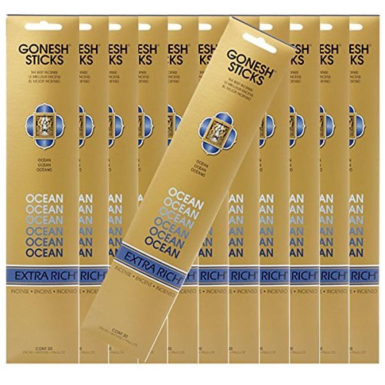 抑圧するラフ学部GONESH ガーネッシュ お香スティック Ocean -オーシャン- x12パックセット(合計240本入り)