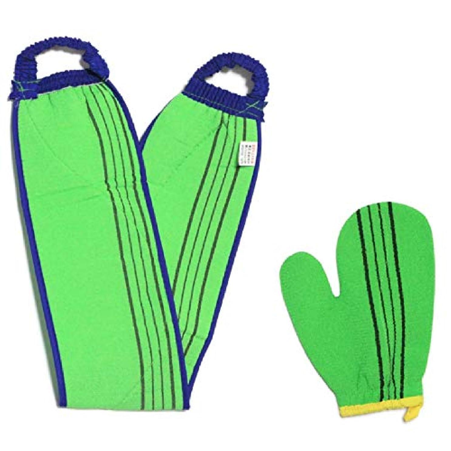 子供っぽい閉じる市長(韓国ブランド)スポンジあかすりセット 全身あかすり 手袋と背中のあかすり 全身エステ 両面つばあかすり お風呂グッズ ボディタオル ボディースポンジ(緑色セット)
