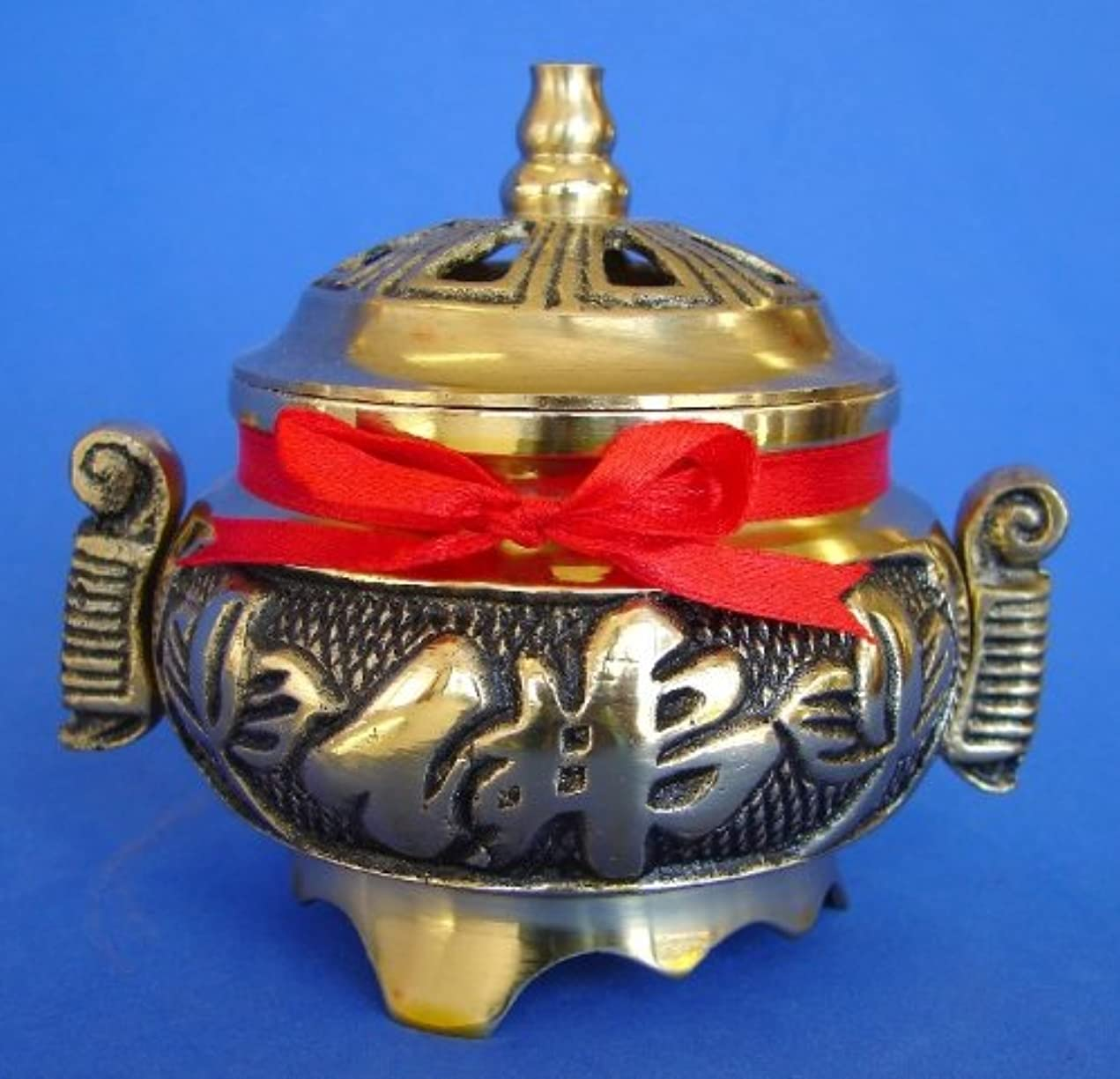 後方に優雅なボットBrass Incense Burner for Cone Incenses