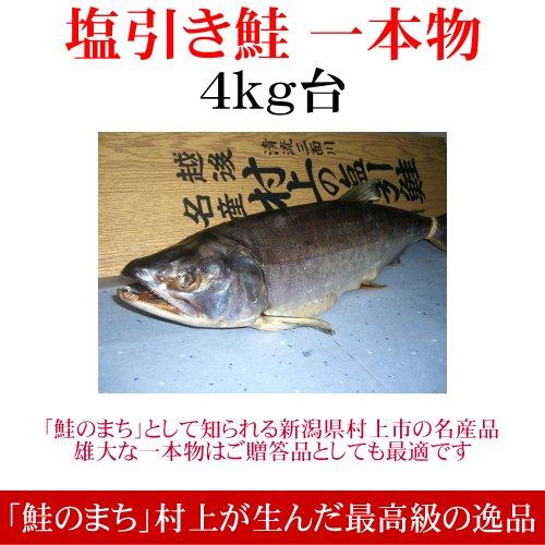 [お歳暮]塩引き鮭(一本物・切り身加工)4kg台 越後村上の名産品です。贈り物に大変喜ばれます