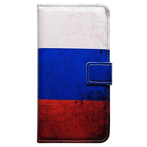 iPhone 7 ケース,アイフォン7 ケース,Bcov 良質PUレザーケース 横開き 手帳型 二つ折り カード収納ホルダー スタンド機能 保護カバー レトロスタイル ロシア国旗