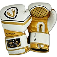 VELO Leather Boxing Gloves Punch Bag mma Muay Thai Fight Training Sparring PR2 (16oz)